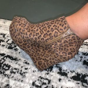 Forever 21 Leopard Pep-Toe Booties